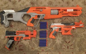 Nerf gun lot with Alphahawk, Falconfire, and more for Sale in Los Angeles, CA