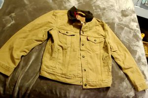 Levi's Fresh Leaves x Justin Timberlake Denim Flannel Lined Trucker Jacket Sz S for Sale in Ceres, CA