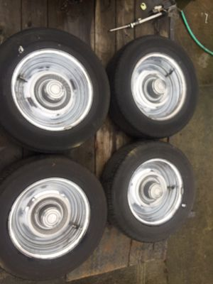 GM Style Rally Wheels with OHTSU P225/60R15 5x4 3/4 Tires for Sale in Vancouver, WA