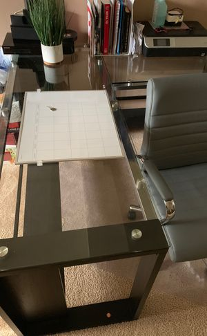 Glass corner desk and chair. Price is flexible for Sale in Wheaton, IL