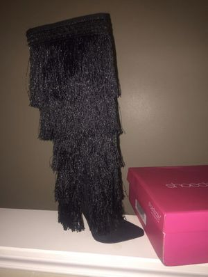 black, fringe stiletto boots for Sale in Humble, TX