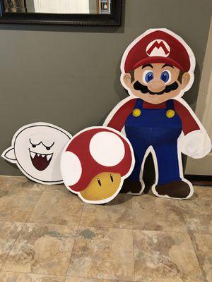 "Mariobross characters 3' 5""Mario, 18"" boo 18"" mushroom for Sale in Bellflower, CA"