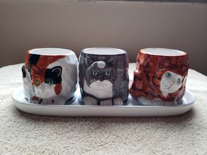 Cat Trio Planter set with Tray for Sale in Tarentum, PA