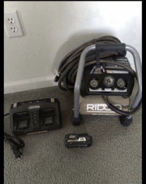 RIDGID 18-Volt Cordless Brushless 1 Gal. Portable Air Compressor with (1) 2.0 Ah Battery and (1) 18-Volt Charger-And hose Lake new for Sale in San Jose, CA