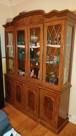 Antique wood China cabinet w silverware drawer (2 Pieces, top half separated from bottom half) for Sale in Chicago, IL