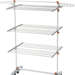 idee BDP-V23 Foldable Rolling 3-tier Clothes Laundry Drying Rack with Stainless Steel Hanging Rods, Collapsible Shelves and Base for Easy Storage, Mad for Sale in Rancho Cucamonga, CA