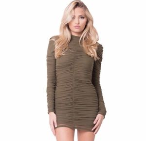 "dc8a6b09c72c1 ""LUX"" Olive ruched dress size medium for Sale in Glendale"