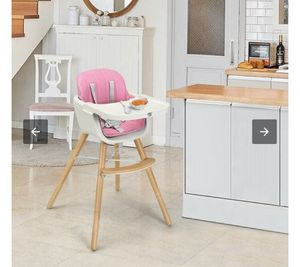 Wooden high chair pink for Sale in Garden Grove, CA