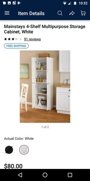 Mainstays 4-Shelf Multipurpose Storage Cabinet, White for Sale in Houston, TX