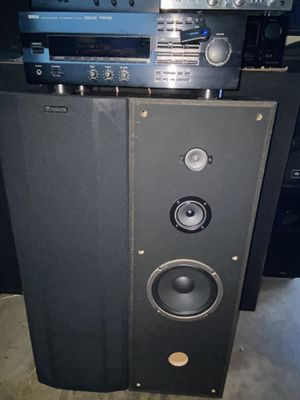 YAMAHA STREAMING STEREO MUSIC SYSTEM WITH BLUETOOTH AND A GREAT SOUNDING PAIR OF LARGE VINTAGE FISHER 4 WAY TALL FLOOR SPEAKERS 🔊 for Sale in Covina, CA
