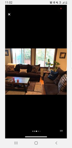 Couches, 2 piece sectional microfiber couches! Moving couches must go. for Sale in Mill Creek, WA