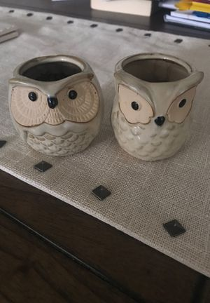 Two small owl porcelain planters for Sale in Brooklyn, NY