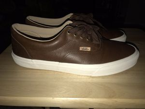 VANS CHOCOLATE LEATHER SHOES 10.5 for Sale in Durham, NC