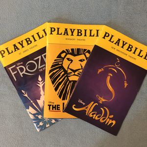 Aladdin, Lion King, Frozen Broadway Musical Playbill Bundle for Sale in The Bronx, NY