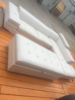 All White Leather Sectional Three Piece for Sale in Detroit,  MI