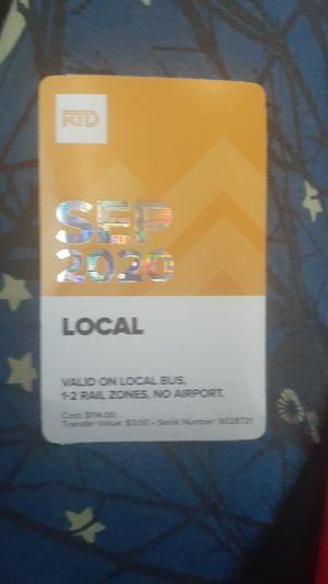 September 2020 RTD BUS PASS for Sale in Denver, CO