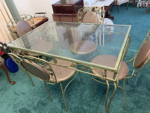 Rod Iron & Glass kitchen table & 4 chairs - $250 OBO for Sale in Houston, TX