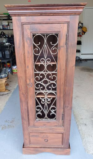Antique Victorian Style Wood Cabinet with Carved Metal Design Door for Sale in Duluth, GA