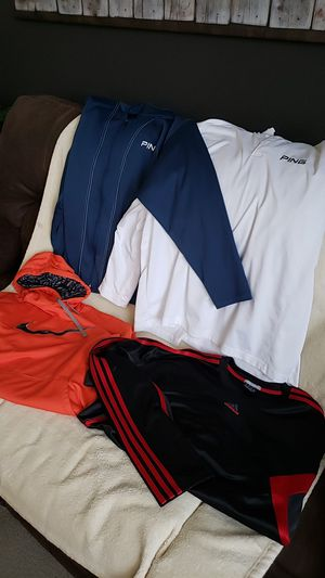 Nike, PING, and Adidas 2XL shirts,jackets and hoodie for Sale in Brighton, CO
