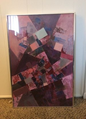 """Abstract painting titled """"Aerial View"""" with metal frame $75 OBO for Sale in Denver, CO"""