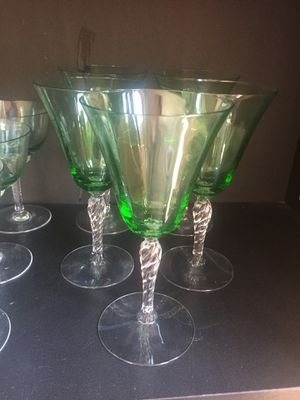 5 hand-blown wine glasses- antique for Sale in Los Angeles, CA