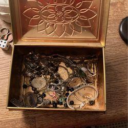 Jewelry box full of women's watches earrings bracelets diamond earrings for Sale in Pataskala,  OH