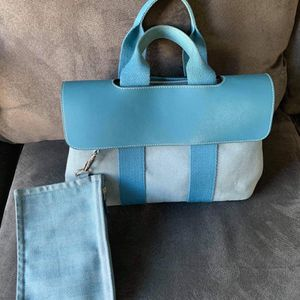 HERMES Valparaiso MM hand tote flap bag Canvas x Leather Blue SHW for Sale in Ontario, CA