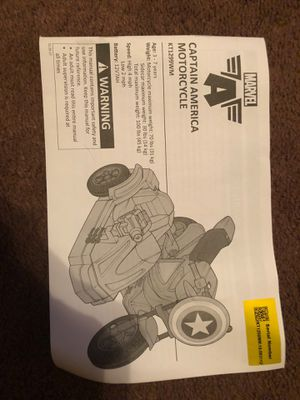 Captain America motorcycle battery power for Sale in Rochester, PA