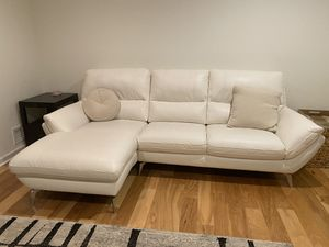 Cream Leather Sofa with Chaise and Matching Electric Recliner for Sale in Marietta, GA