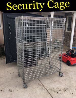 Security cage 180 firm including white totes with wheels for Sale in Ontario, CA