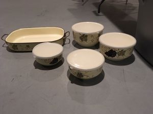 Grape enamel cookware, serving pieces and storage pieces for Sale in Glendora, NJ