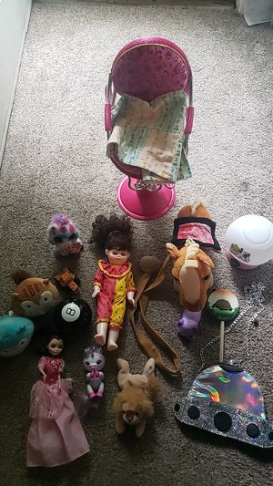 Lot of toys as my daughter has grown out of them. Includes fingerling unicorn walking/neighing horse beanie babies 2 squishmallows doll chair etc. for Sale in North Saint Paul, MN
