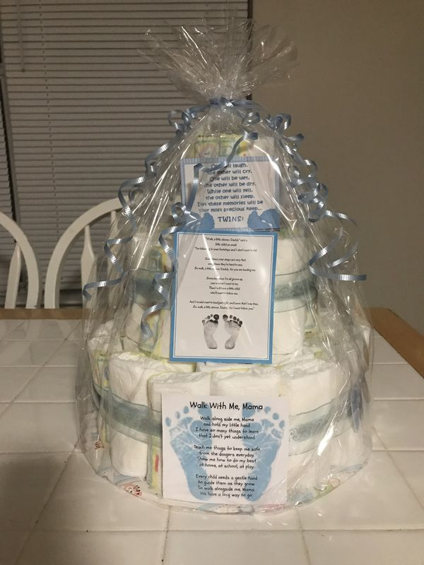 Three tier boy diaper cake