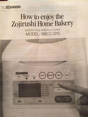 Zojirushi bread maker model BBCC-S15 for Sale in Virginia Beach, VA