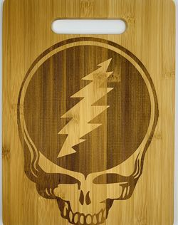 Grateful dead skull laser engraved bamboo high quality cuttingboard pop gift for Sale in Los Angeles,  CA