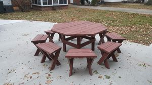 Solid picnic table. 8 stools. for Sale in Euclid, OH