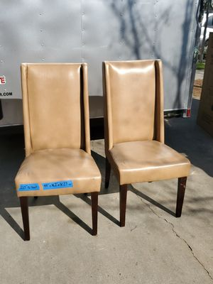 Pair of Lt brown Leather(ish) lounge/accent chairs for Sale in Fresno, CA