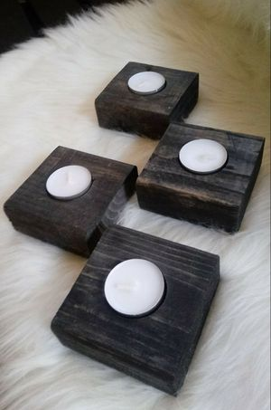 """1-1/2""""X 3-1/2""""W X 3-1/2""""D 🌱(4 Pcs.) Solid Wood Tea Light Candle Holder ::: Rustic Black for Sale in Las Vegas, NV"""