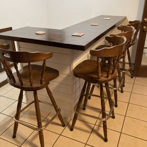 (4) Barstools, High Back, Solid Wood Swivel for Sale in Sykesville, MD