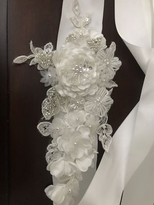 White Embellished Flower Belt for Wedding Dress/Baptism/Special Event for Sale in Rancho Cucamonga, CA