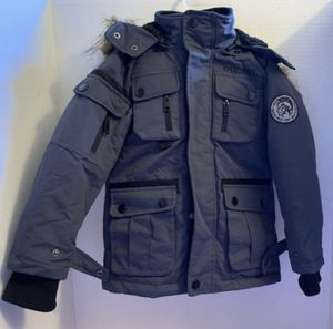 Diesel Parka with Detachable Faux Fur & Hood Boys/Charcoal for Sale in Powder Springs, GA