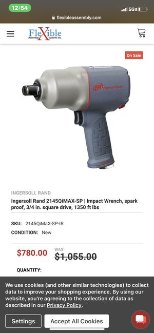 Ingersoll Rand 2145 QiMax-sp| impact wrench, spark proof, 3/4 in. Square drive, 1350 ft lbs for Sale in Highland, CA