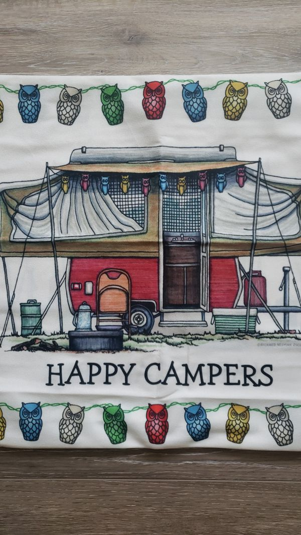 Accent pillow cover , pop up campers