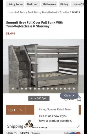 Summit white twin over twin bunk Bed with 2-DRW unserved storage stairway And mattresses PAID $3000 for Sale in Fremont, CA