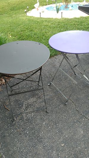 2 metal round folding tables for Sale in Calverton, MD
