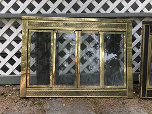 Brass fireplace doors and fire irons for Sale in Anchorage, AK