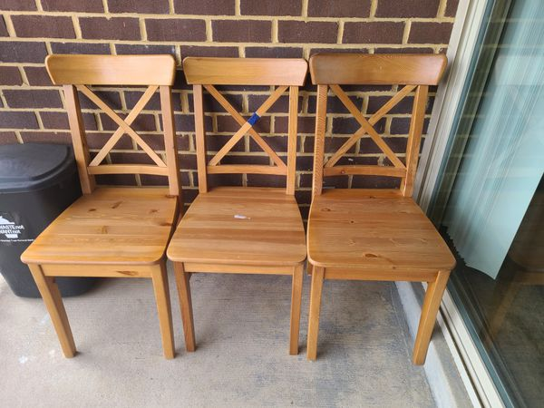 3 ikea wooden chairs
