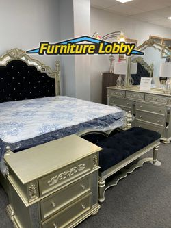 King Traditional Bedroom SET includes King Bed frame Dresser Mirror Night Stand NN for Sale in Irving,  TX