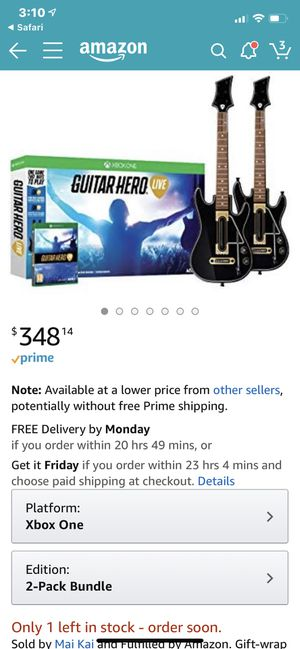 Xbox One Guitar Hero Live w/2 guitars & game for Sale in Fairfax, VA