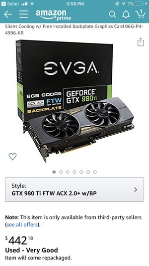 980 ti 6gb ftw computer graphics card for Sale in Fresno, CA